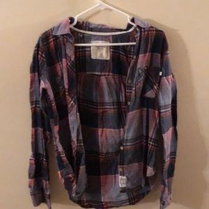 Abercrombie red white and blue flannel